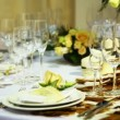 Stock Video: Empty glasses on table beautiful decorated in restaurant