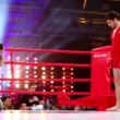 Wrestler in kimono stand in boxing ring corner at The Battle of Moscow 3 — Stock Video