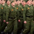 Stock Video: Green berets rank march at Victory Parade