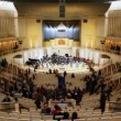 People left hall after concert in Tchaikovsky Hall of Moscow Philharmonic — Stock Video
