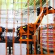 Industrial robot puts yogurt packaging in neat rows on pallet — Stock Video
