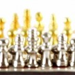 Small golden and silver chess figures in start position — Stock Video