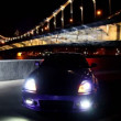 Car stand with parking lights blinks at background of bridge — Stock Video