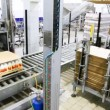 Stock Video: Worker puts fiberboard sheets on rack for industrial robots palletizing at dairy factory
