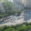 On highway in bottleneck traffic jam was formed — Vídeo Stock