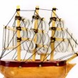 Stock Video: Toy wooden ship circling isolated