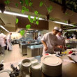 Stock Video: Few people work on kitchen