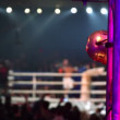 Fighters on boxing ring unfocused — Stock Video