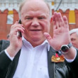 G. Zyuganov leader of Communist Party of Russia with cell phone — Stock Video