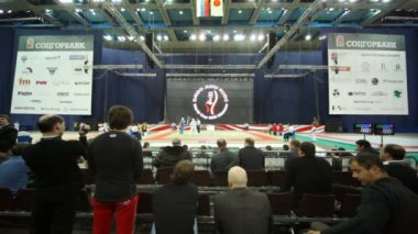 Spectators look as sportsmen fight on tatami at World Cup 2011 KUDO — Stok video
