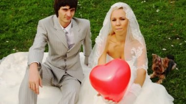 Newly-married couple sits with doggie and clicks fingers in sphere-heart in hands at bride — Stock Video