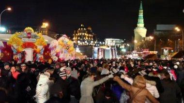 Many people celebrate maslenitsa — Stock Video