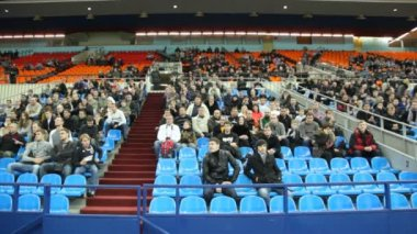 Spectators on tribunes support sportsmen at World Cup 2011 KUDO — Stock Video