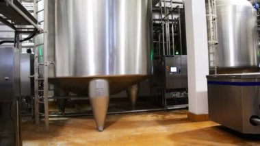 Huge steel tank of fresh milk, panorama from botoom up — Stock Video