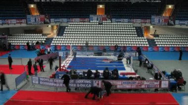 Workers disassemble ring after competitions in sports Palace Krylatskoe — Stock Video