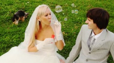 Newly-married couple sits near to doggie and bride starts up soap bubbles — Stock Video