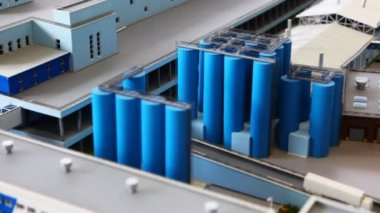 Maquette transport area of dairy factory on table — Stock Video