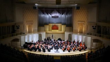 Performance of Symphony Orchestra of Moscow State Conservatory — Stock Video