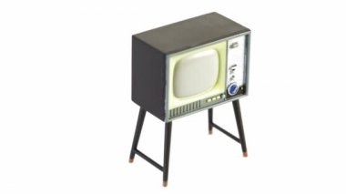 Toy television receiver circling isolated — Stock Video