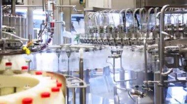 Veel lege flessen gewassen en links verschijnen al gevuld melk in enorme fabriek — Stockvideo