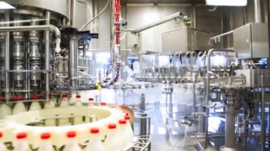 Lots of empty bottles washed and left appear already filled milk at huge factory, wide view — Video Stock