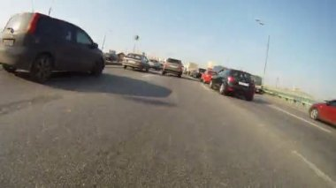 Cars go and are move on different highway strips on Third Transport Ring — Stock Video