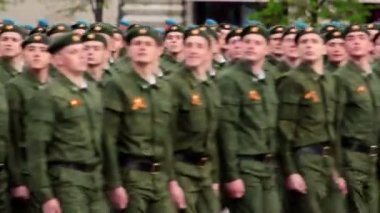 Paratroops rank march at Victory Parade — Stock Video