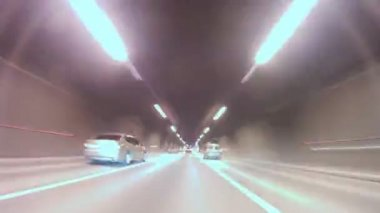 Cars leave tunnel and go on highway on Third Transport Ring — Stock Video