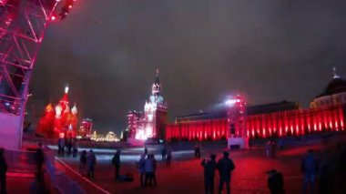 First international festival CIRCLE OF LIGHT hold on Red Square — Stock Video