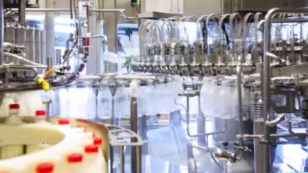 Beaucoup de bouteilles vides, lavé et laissé apparaît déjà lait de rempli énorme usine — Vidéo