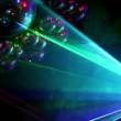 Multiple rays laser beams in smoke and many discoballs — Stock Video