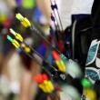 Stock Video: Arrows in quivers on several archers