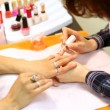 Cosmetician accurately covers nails of client with transparent nail polish — Stock Video #30716481
