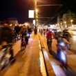 Many bicyclists ride over bridge with traffic in Moscow — Stock Video