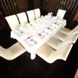 Table for ten persons stands in separate room separated by jalousie — Stock Video #30716773