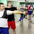 Two boys shoot arrows on IV Traditional archery tournament in RSUPES&T — Video Stock