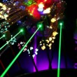 Stock Video: Several lasers emit green rays