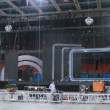 Working scenes dismantle scenery after concert of Legend RetroFM in Sports complex Olimpiyskiy, — Stock Video