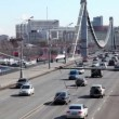 Many cars ride over Crimean Bridge in Moscow — Stock Video