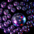 Many discoballs under ceiling light is reflected from surface of sphere — Stockvideo