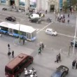 People go on crosswalk on Gran Via Street — Stock Video