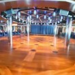 Motion through empty dance floor in night club at day on ship — Vídeo Stock