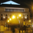 Tourists walk in front of Teatro Real in evening — Stock Video