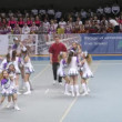 Stock Video: Panthers team participates in Championship on cheerleading