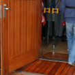 Flow of people comes into doors during saving training by ship — Vídeo de stock
