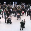 People go on hall before start Ceremony of rewarding of winners — Stock Video