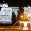 Fountain stands in front of king palace at night, time lapse — ストックビデオ