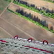 Forest belt and field located under flying balloon — Stock Video