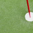Small white ball passes by near flag in minigolf — Stock Video
