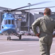 Helicopter flies from take-off field at International exhibition — Stock Video
